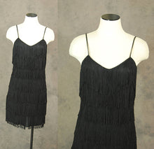 vintage 80s Fringe Dress - Black Fringe Flapper Dress 1980s Wiggle Cocktail Dress Sz S