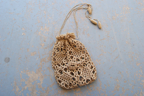 vintage 20s Crochet Purse - 1920s Beige Lace Bag Flapper Purse Drawstring Purse Wristlet