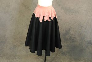 vintage 50s Circle Skirt - 1950s Wool Felt and Velvet Applique Skirt Black and Pink Skirt Sz XS S