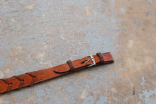 vintage Western Belt -  70s Woven Leather Belt Chevron Arrow Belt Sz S
