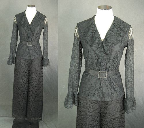 vintage 60s Lace Jumpsuit - 1960s Lace Suit Set Ruffle Top and Palazzo Pants Pantsuit Sz S