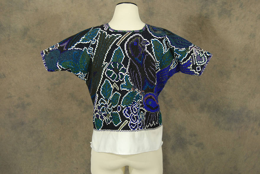 Vintage 70s Huipil 1970s Heavily Embroidered Peasant Shirt Blue