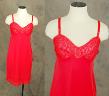 vintage 60s Slip - Lacy Red Full Slip Dress 1960s Lingerie Sz XS 32