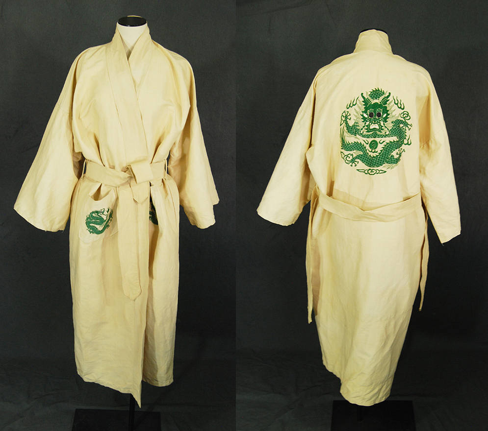 vintage 30s Dragon Kimono Robe - 1930s Raw Silk Embroidered Kimono - Cream Silk Asian Duster Dressing Gown Sz S M L