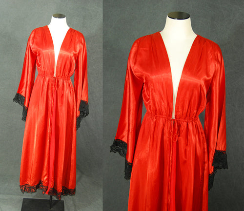 vintage 70s Angel Sleeve Robe - Red Satin and Black Lace Dressing Gown Sz S M