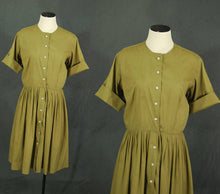 vintage 50s Shirtwaist Dress - 1950s Avocado Green Cotton Day Dress Sz M