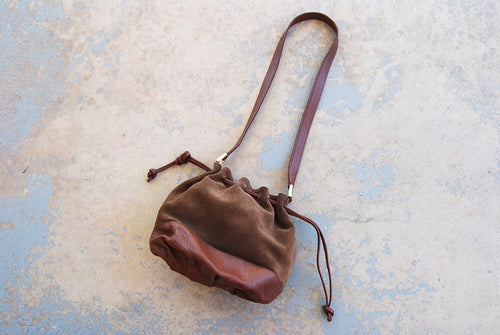 vintage 80s Bucket Purse - 1980s Boho Brown Suede and Leather Shoulder Bag Hobo Bag