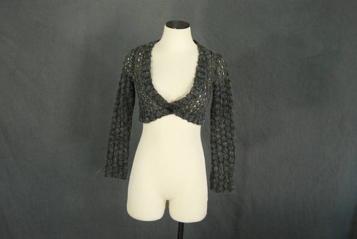 vintage 90s Cropped Sweater - 1990s Open Knit Crochet Lurex Cardigan Shrug Sweater XS