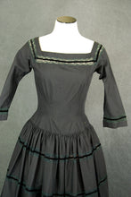 vintage 50s Dress - 1950s Black Cotton and Lace Party Dress Cocktail Dress Sz XS S