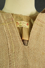 vintage 70s Tunic Sweater - 1970s Handwoven Wool Shirt Boho Beige Wool Top SZ M L Xl