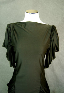 vintage 80s Draped Dress - 1980s Black Jersey Wiggle Dress Party Dress Sz S M