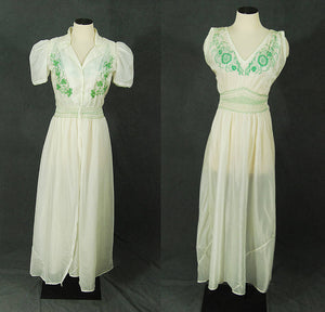 vintage 40s Parachute Silk Peignoir - 1940s Rare WWII Japanese Pajama Set Nightgown Robe - Embroidered Peasant Dress Night Gown Robe Sz M