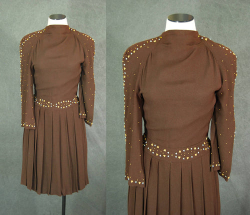 vintage 30s 40s Studded Dress - 1940s Brown Crepe Cocktail Dress Sz XS