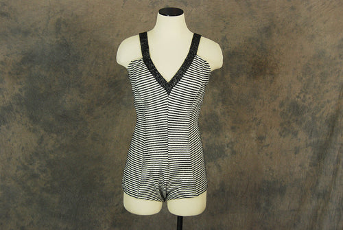 vintage 50s Swimsuit - Metallic Striped Knit Swimsuit 1960s One Piece Swimsuit Bathing Suit Sz M