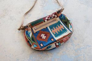 vintage 80s Tapestry Purse - 1980s Boho Geometric Tapestry Shouder Bag