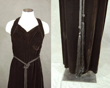 vintage 30s Velvet Dress - Brown Velvet Racerback Dress and Jacket 1930s Velvet Maxi Dress Evening Gown Sz S
