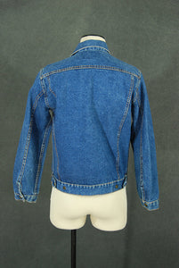 vintage 80s Jean Jacket - 1980s Classic Medium Blue Faded Broken in Denim Jacket Sz S M