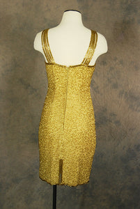 vintage 1980s Beaded Dress - 80s Gold Silk Cocktail Dress Wiggle Dress Party Dress Sz S