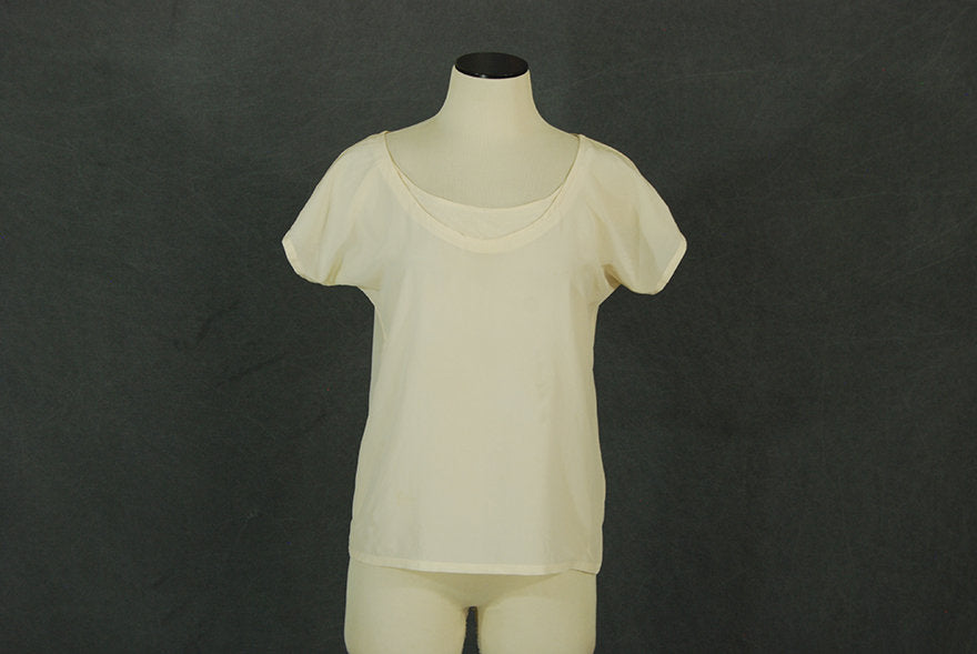 vintage 80s Silk Blouse - 1980s Cream Silk Shirt Minimalist Top Sz M