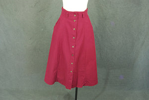 vintage 80s Midi Skirt - 1980s Burgundy Red High Waist Skirt  Sz S