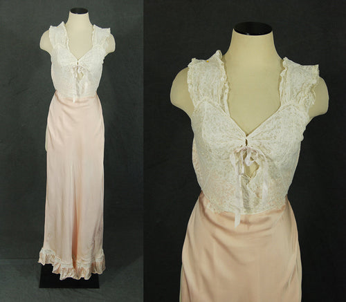 vintage 30s Satin Nightgown - Pink Satin and Lace Bias Cut Negligee Racerback Nightgown 1930s Lingerie Sz XS S