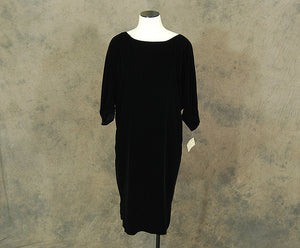 vintage 80s Velvet Cocktail Dress - 1980s Minimalist Ann Taylor Tent Dress Sz M Deadstock