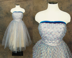 vintage 50s Party Dress - Blue Plaid Ball Gown - 1950s Strapless Formal Dress Sz S