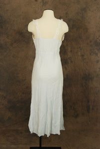 vintage 40s Nightgown - Baby Blue Ecru Lace Negligee Nightgown 1940s Lingerie Sz M