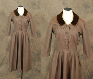 vintage 50s Dress - 1950s Brown Twill Velvet Collar Dress Sz S M