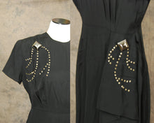 vintage 40s Cocktail Dress - 1940s Studded Dress - Black Draped Sash Dress Sz M
