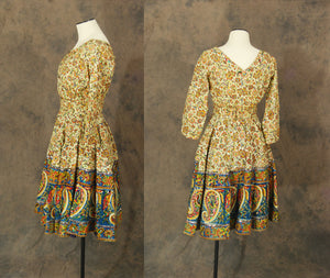 vintage 50s Dress - 1950s Indian Cotton Paisley Beaded Party Dress Skirt Set Blouse Circle Skirt Sz S