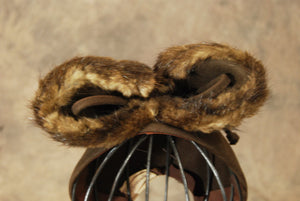 vintage 40s Bow Hat - 1940s Mink Fur Bow Skull Cap - Brown Wool Tilt Topper  Hat