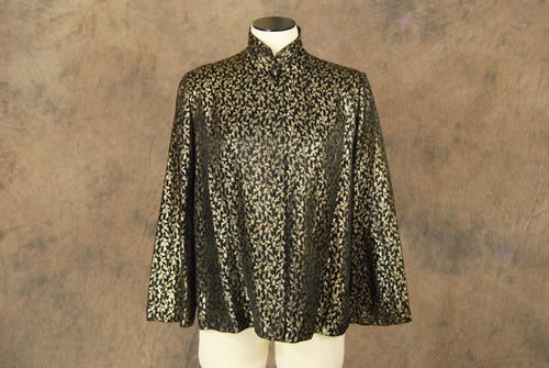 vintage 40s Coat - 1940s Black and Gold Brocade Swing Coat - Short Evening Coat Sz S M L