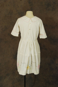vintage 20s Dress - 1920s Embroidered Cotton Dress - Art Deco Lawn Dress Flapper Dress Sz M