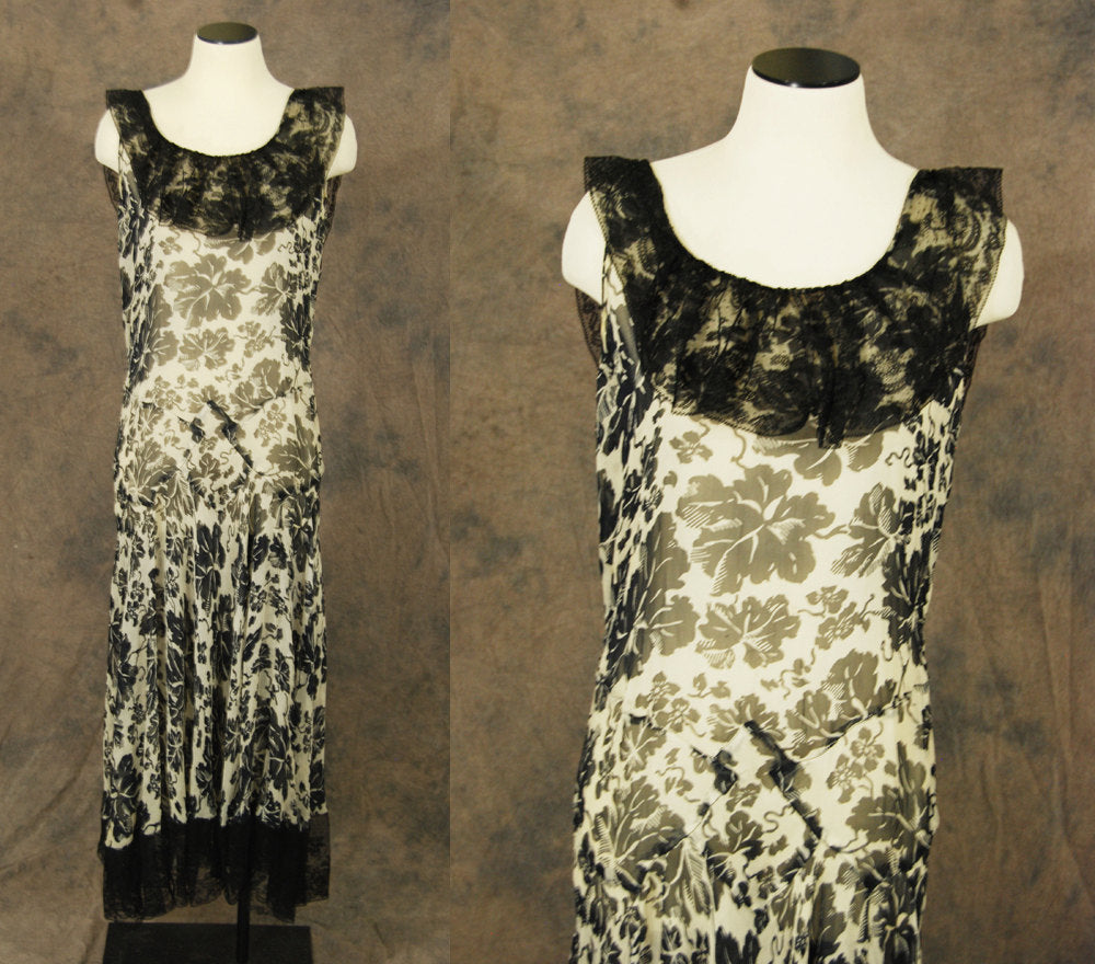 vintage 30s Evening Gown - 1930s Dress Floral Silk Chiffon Dress 1930s Chantilly Lace Maxi Dress Sz M
