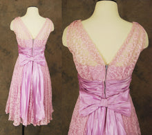 vintage 50s Party Dress - Pink and Lavendar Lace Ball Gown - 1950s Lace Illusion Formal Dress Sz S