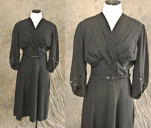 vintage 40s Cocktail Dress - 1940s Beaded Dress - Noir Black Dress Sz M