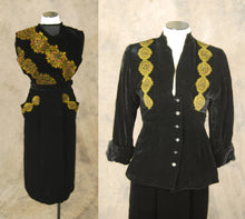 vintage 40s Silk Velvet Suit - 1940s Novelty Persian Print Black Velvet Suit - 3 pc Suit Sz XS