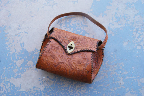 vintage 40s Purse - 1940s Brown Tooled Leather Western Purse