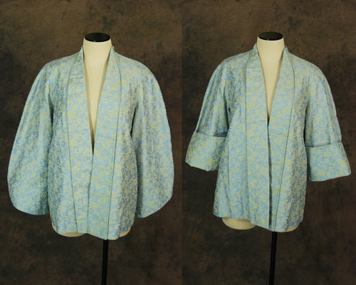 vintage 40s Coat - 1940s Blue and Cream Brocade Swing Coat - Bell Sleeve Short Evening Coat Sz S M L