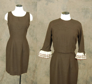 vintage 50s Dress and Jacket - 1950s Suit Dress - 1950s Brown Wiggle Dress and Cropped Blouse Sz S