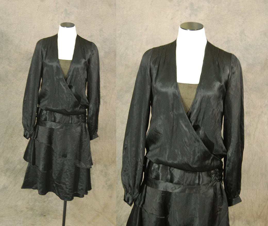 vintage 20s Flapper Dress - 1920s Black Silk Satin Dress - Art Deco Little Black Dress LBD Sz S