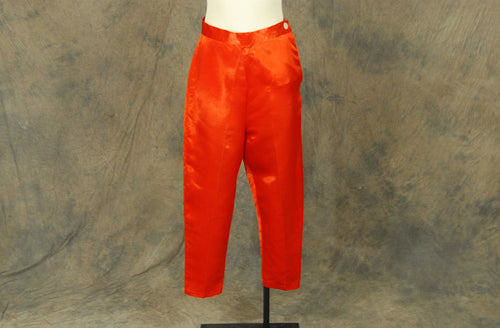 vintage 40s Satin Pants - 1940s Red Orange Lounge Pants Capri Pajama Pants Ankle Pants Sz S M 26 28
