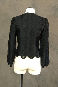 vintage 40s Fringe Jacket - 1940s Noir Black Draped Fringe Formal Jacket - Sz XS