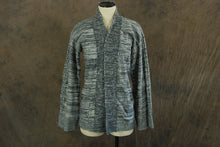 vintage 70s Cardigan - Heather Gray Space Dyed Wrap Sweater - 1970s Boho Cardigan SZ S M