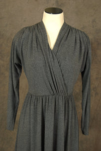 vintage 80s Dress - 1980s Grey Draped Jersey Dress Tshirt Dress Sz M