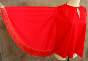 vintage 70s Batwing Blouse - Red Fringe Angel Sleeve Caftan Shirt Sz M L XL