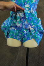 vintage 60s Playsuit - Blue Floral Romper 1960s One Piece Swimsuit Bathing Suit Sz M