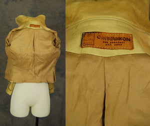 vintage 70s Oshwahkon North Beach Leather Jacket - 1970s Rare Oshwahkon Buttercream Western Leather Jacket Sz XS