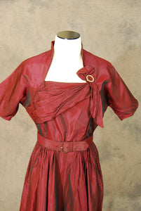 vintage 40s Cocktail Dress - 1940s Oxblood Red Sharkskin Dress - Origami Taffeta Party Dress Sz S